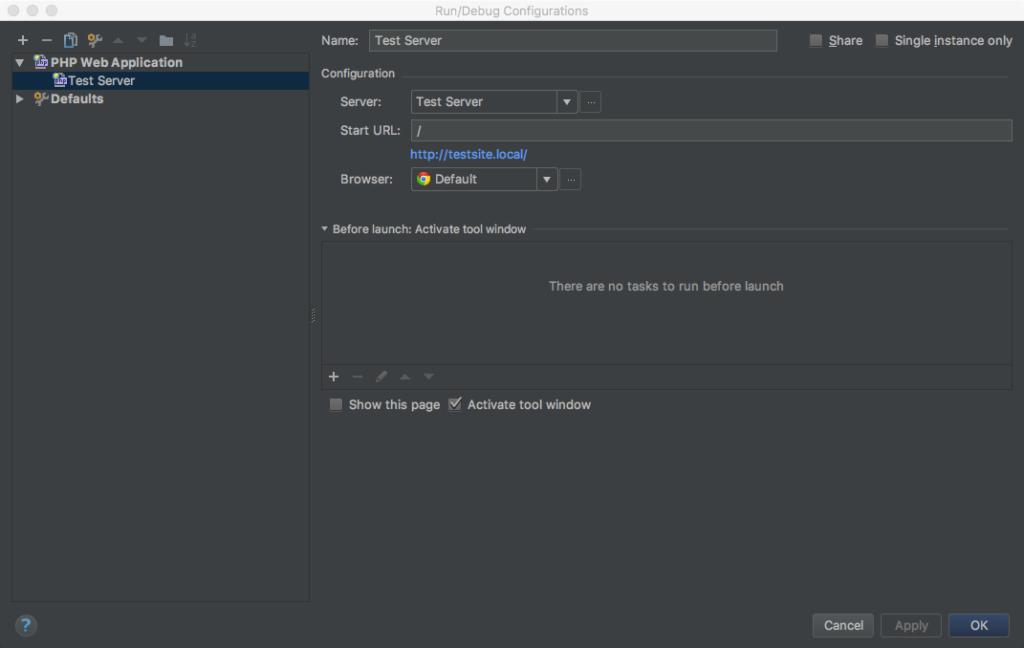 Create a new Test Server app