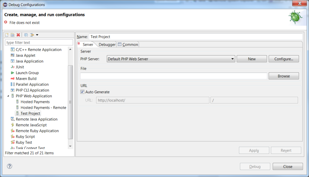 Eclipse Debug Configurations for Xdebug